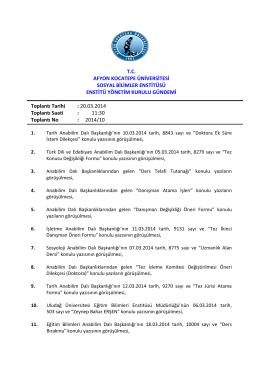 20.03.2014 Tarih ve 2014-10 Sayılı Karar