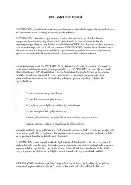 KULLANICI SÖZLEŞMESİ GEZİPİN.COM adresli web sitesinden