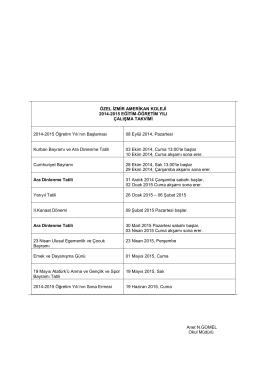 ÖZEL İZMİR AMERİKAN KOLEJİ 2014-2015 EĞİTİM