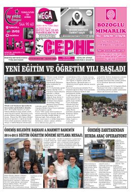16.09.2014 Tarihli Cephe Gazetesi
