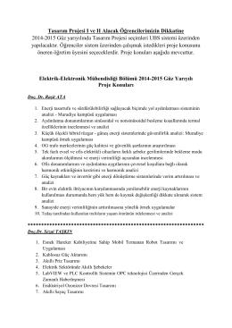 Tasarım Projesi I ve II Alacak Öğrencilerimizin Dikkatine 2014