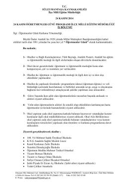 T.C. SÜLEYMANPAŞA KAYMAKAMLIĞI İlçe Milli Eğitim Müdürlüğü