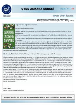 Mart 2014 İletisi - ÇYDD Ankara Şubesi
