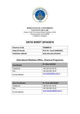DATA SHEET 2014/2015 - Dokuz Eylül Üniversitesi