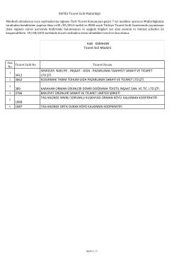 münfesih kayıt silme listesi - Bafra Ticaret ve Sanayi Odası