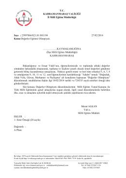 T.C. KAHRAMANMARAŞ VALİLİĞİ İl Millî Eğitim Müdürlüğü Sayı