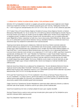 bilgilendirme dokümanı - 2013 Faaliyet Raporu