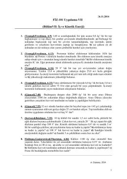 FİZ-101 Uygulama-VII (BölümVII: İş ve Kinetik Enerji)