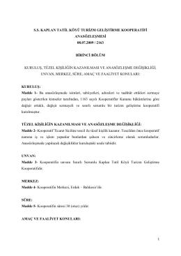 Ana Sözleşme - Kaplan Tatil Köyü Erdek Tatil Köyü