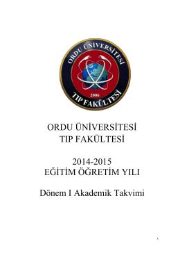 ORDU ÜNİVERSİTESİ TIP FAKÜLTESİ 2014-2015