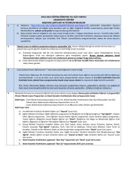 2014-2015 eğitim-öğretim yılı güz yarıyılı lisansüstü eğitimi başvuru
