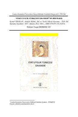 Eski Uygur Türkçesi Grameri - Karatekin Üniversitesi Sosyal Bilimler