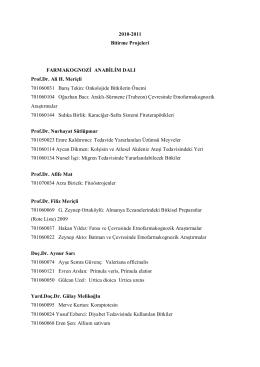 2010-2011 Bitirme Projeleri FARMAKOGNOZİ ANABİLİM DALI Prof