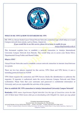 WHAT IS SSL VPN? - Uluslararası Antalya Üniversitesi