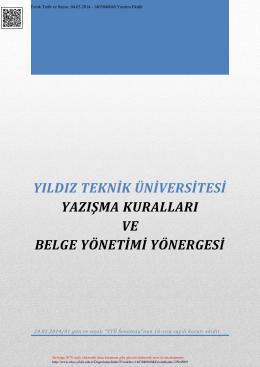 Yazışma - Genel Sekreterlik - Yıldız Teknik Üniversitesi