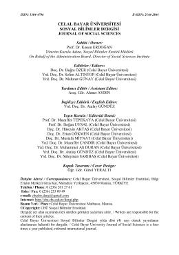 Hakem ve Yayın Kurulu - Sosyal Bilimler Enstitüsü