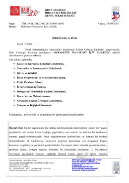 ORTA ANADOLU İHRACATÇI BİRLİKLERİ GENEL SEKRETERLİĞİ