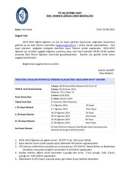 25.06.2014 Değerli Veli, 2014–2015 Eğitim
