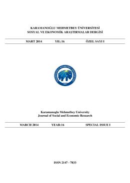 Künye - KMÜ Sosyal ve Ekonomik Araştırmalar Dergisi