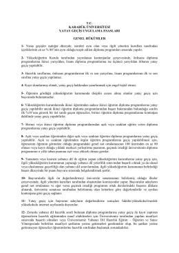 Karabük Üniversitesi Yatay Geçiş Uygulama Esasları