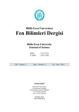 İlk Sayfalar - Bitlis Eren Üniversitesi