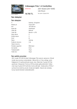 Volkswagen Polo 1.4 Comfortline 18.750 TL İlan detayları