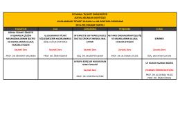 Uluslararası Ticaret ve AB Hukuku Ders Programı (Doktora)