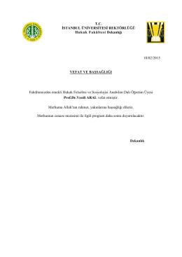VEFAT VE BAŞSAĞLIĞI (10 Şubat 2015)