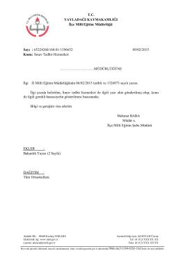 Sınav Tedbir Hizmetleri - yayladağı ilçe millî eğitim müdürlüğü