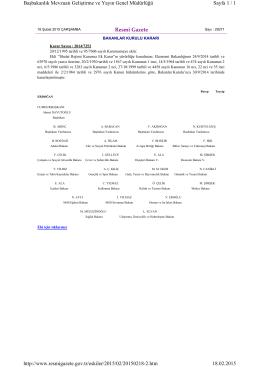 Resmî Gazete Sayfa 1 / 1 Başbakanlık Mevzuatı Geliştirme ve Yayın