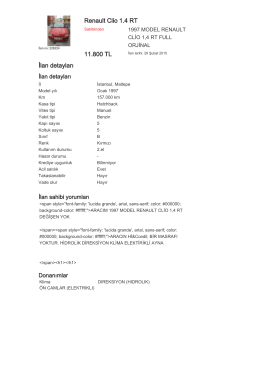 Renault Clio 1.4 RT 11.800 TL İlan detayları