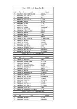 Sıra No Adı Soyadı Grup1 10.00 - 10:45 (Çarşamba) (21) Grup2 10