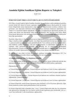 Anadolu Eğitim Sendikası Eğitim Raporu ve Talepleri