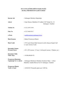 Banka Promosyon İhalesi (16.04.2015)