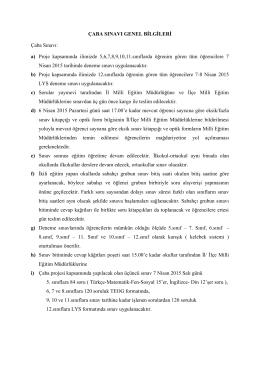 ÇABA Projesi Sınav Yönergesi - Çanakkale İl Milli Eğitim Müdürlüğü