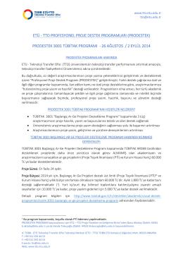 PRODESTEK 3001 Programı Duyurusu