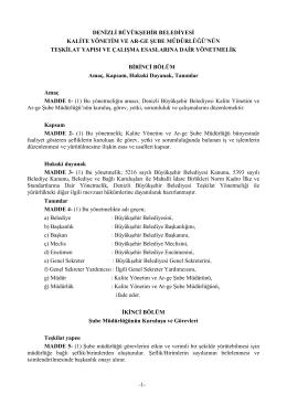Kalite Yönetim ve Ar-Ge Şube Müdürlüğü