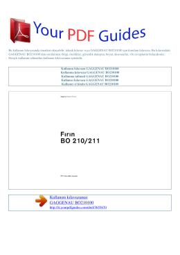 Kullanma talimati GAGGENAU BO210100