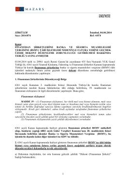FİNANSMAN ŞİRKETLERİNE BANKA VE