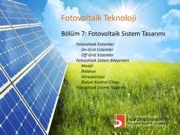 Fotovoltaik Sistemler - Bilecik Şeyh Edebali Üniversitesi Makine ve