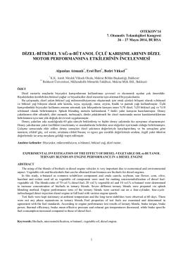 Dizel-bitkisel Yağ-n-bütanol Üçlü Karışımlarının Di·zel