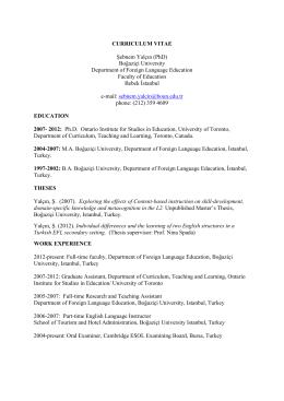 CURRICULUM VITAE Şebnem Yalçın (PhD)