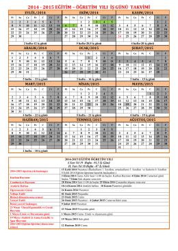 2014-2015 Eğitim Öğretim Yılı İş Günü Takvimi