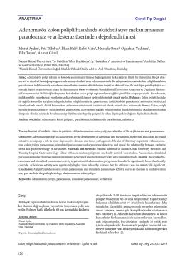 Adenomatöz kolon polipli hastalarda oksidatif