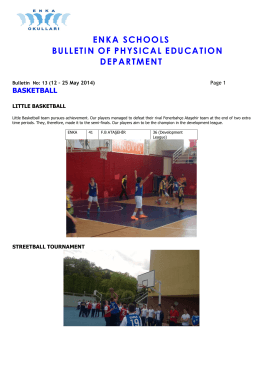 ENKA SCHOOLS BULLETIN OF PHYSICAL EDUCATION