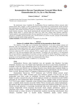 Karamenderes Havzası Topraklarının Yarayışlı Mikro Besin