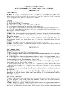 Mühendislik Fakültesi Lisans Eğitimi Staj Yönergesi