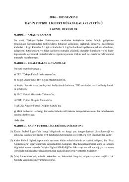 Kadın Ligleri Statüsü - Türkiye Futbol Federasyonu