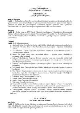 Sinop Üniversitesi Özel Öğrenci Yönergesi