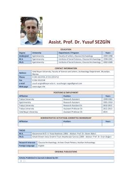 Assist. Prof. Dr. Yusuf SEZGİN